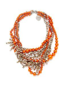 Tom Binns Orange Pearl & Crystal Multi Strand Necklace