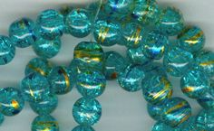 8mm DrawBench Blue Crackle Glass Round Beads Long by RockNBeads, $6.00