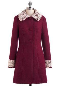 Mulberry Scones Coat by Miss Patina - Long, Red, Tan / Cream, Solid, Buttons, Lace, Long Sleeve, 3