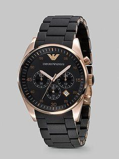 da377eaf3d8f New In Box Emporio Armani Black and Gold Chronograph Dial Men s Watch