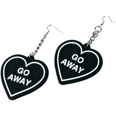 Witch Worldwide Go Away Earrings (€38) ❤ liked on Polyvore featuring jewelry, earrings, accessories, initial jewelry, hook jewelry, letter jewelry, white jewelry and heart shaped jewelry