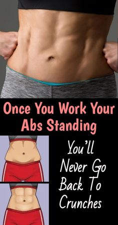 Standing abs can be far more effective and interesting so we recommend you to give it a try and give those abs a nice workout. Fitness Herausforderungen, Fitness Workout For Women, Woman Workout, Fitness Wear, Tummy Workout, Belly Fat Workout, Workout Tanks, Workout Gear, Easy Workouts
