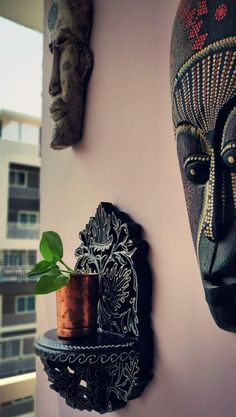 Home style Tour with Rajni in Hyderabad: the copper planter hanging on the wall Copper Planters, Garden Planters, Balcony Garden, Ethnic Home Decor, Indian Home Decor, Warm Colors, Colours, Old Trunks, Indian Home Interior