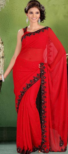 #Red Faux Georgette #Saree Blouse | @ $121.02