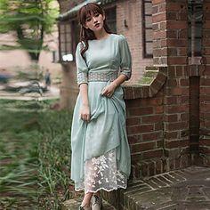 TS Crew Neck Dress , Polyester Mini Long Sleeve – USD $ 24.99