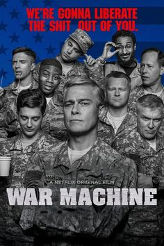 Brad Pitt stars as General Glen McMahon, the man with the plan to win Afghanistan in this Netflix military satire War Machine. Netflix Streaming, Streaming Hd, Films Hd, Comedy Movies, Satire, Movies To Watch, Good Movies, Critique Film, Movie Posters