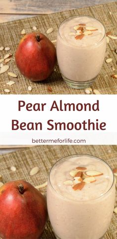 Thick, rich, and creamy sums up this pear almond bean smoothie. It's packed with protein, fiber, and antioxidant &anti-inflammatory benefits. Find the recipe on BetterMeforLife.com