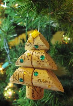 Xmas Tree Decoration Made From Cork