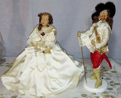 Rare and Scare King Charles I and Queen Wife Henrietta Maria Collector Costume Dolls Royal Historical Figures Devereax Models Made England