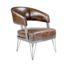 Luxurious top grain leather in warm brown lends classic flair to the Grantham Club Chair. Designed with an eye toward industrial, this chair features metal framing with a satin silver-tone finish. Rive...  Find the Grantham Club Chair, as seen in the Private Eye for Design Collection at http://dotandbo.com/collections/private-eye-for-design?utm_source=pinterest&utm_medium=organic&db_sku=110980