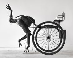 Tim Lewis' Mechanical Osterich Sculpture: British artist Tim Lewis' Pony has an ostrich-like anatomy constructed from three mechanical arms, as athletically human as they are programmatically robotic. Like Jetsam, Pony appears as less animated object, more independent entity, moving across the floor towing an empty carriage, the 'ostrich' is autonomous rather than interactive.
