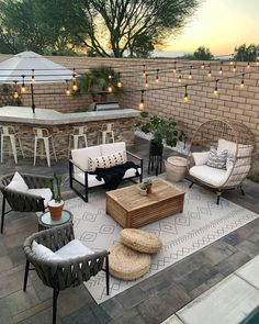 to warm sunsets and patio parties! This cold weather is making us miss the summer scene like this one from 🌅 Luckily,… Outdoor Area Rugs, Outdoor Spaces, Indoor Outdoor, Outdoor Living, Outdoor Decor, Backyard Patio Designs, Backyard Ideas, Exterior Design, Modern Exterior