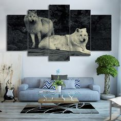 Are you looking to decorate your den in the best possible way? Then you should opt for this Wall Art depicting these two beautiful White Wolves. Bedroom Canvas, Living Room Canvas, Canvas Home, Wolf Painting, Painting Frames, Spray Painting, 5 Piece Canvas Art, Canvas Prints, Wolf Canvas