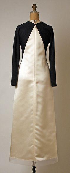 Ivory silk satin and black wool evening dress (back), by Geoffrey Beene, American, fall/winter 1995-96.