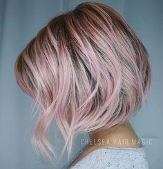 Dusty Rose ... by @chelsea.hair.magic #behindthechair #pastelhair #alinebob #pinkhair #rosegoldhair