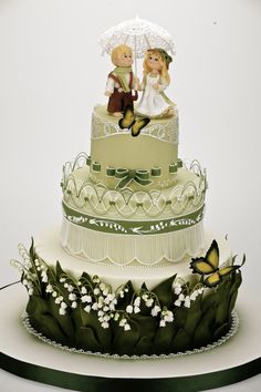 Lily of valley spring wedding cake