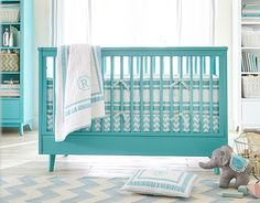 Love the teal. #PotteryBarnKids Stanley Crib with Harper on potterybarnkids.com