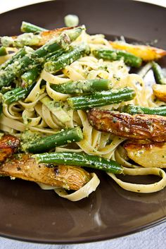 Tagliatelle with new potatoes, green beans, and pesto