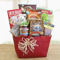 The Organically Delicious Wishes Gift Basket is the perfect gift for a group of health-conscious friends, relatives