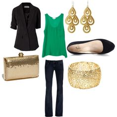 Dress up a green tank with a black blazer and gold accessories.