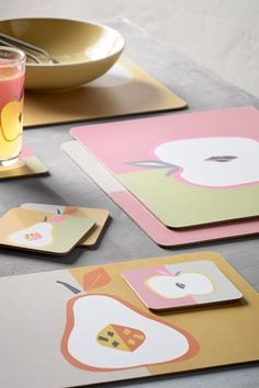 Buy Set of 4 Fruit Placemats And Coasters from the Next UK online shop Uk Online, Plastic Cutting Board, Cleaning Wipes, Barware, Coasters, Fruit, Kitchen, Shop, Cooking