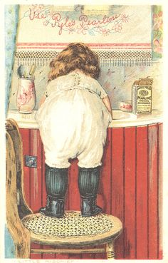 Sweetly Scrapped: Sweet Girl Washing Hands.... Vintage Image