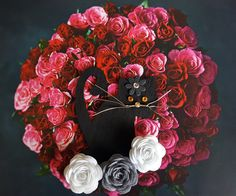 Kitten & Roses - artwork by Malicia Dabrowicz How To Make Paper, Floral Wreath, Collage, Wreaths, Cat, Shop, Handmade, Decor, Decorating