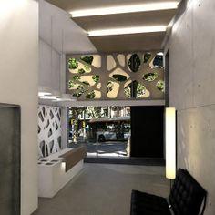 Ideas de #Oficina, Tienda, estilo #Vanguardista color  #Beige,  #Beige,  #Plateado, diseñado por DIAGONARC  #CajonDeIdeas