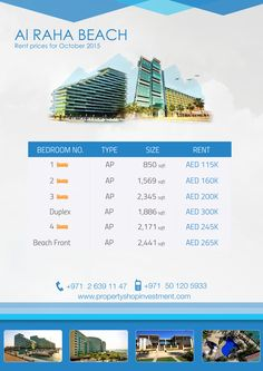 October Starting Prices on Properties for Rent in #AlRahaBeach