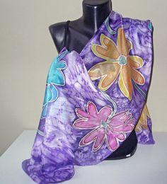 Painted silk scarf Flowers in purple marble by MarijanaSilk