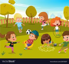 Children Play Football and Swing Outdoor in Summer Green Tree Park. Happy Boy and Girl Vector Cartoon Character Activity Toy Equipment. Drawing For Kids, Art For Kids, Character Activities, Kindergarten Lesson Plans, Preschool Learning Activities, Cartoon Background, Happy Boy, Activity Toys, Boys Playing