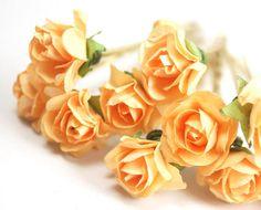 Accessoires pour cheveux mariée, orange clair Rose, Orange fleur épingle à cheveux, épingle à cheveux en laiton - set de 6