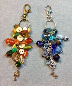 Purse charms/clips using vintage buttons, beads and charms. Custom made for client.
