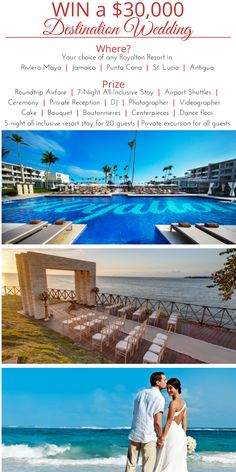 Enter to win an incredible free destination wedding package PLUS airfare, luxury resort stay, excursions, free accomodations for your guests & more! Wedding Tips, Wedding Details, Cake Bouquet, Destination Wedding Locations, All Inclusive Resorts, Riviera Maya, Jamaica, Drill, Opportunity