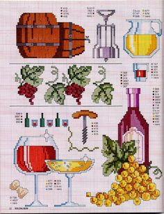 Stills and Bubbly, Red and White Tiny Cross Stitch, Cross Stitch Kitchen, Cross Stitch Needles, Cross Stitch Samplers, Counted Cross Stitch Patterns, Cross Stitch Charts, Cross Stitch Designs, Cross Stitching, Cross Stitch Embroidery