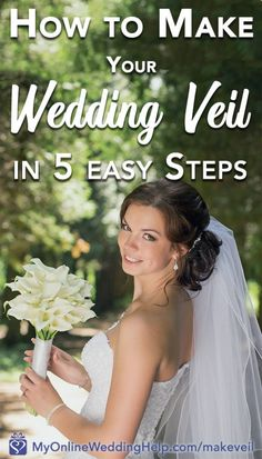 How to Make a Wedding Veil with Comb. A handmade wedding veil is one of the simplest projects for your DIY Wedding. Here is a five step wedding veil diy with instructions and video. Wedding Veils With Hair Down, Diy Wedding Veil, Budget Wedding, Destination Wedding, Wedding Planning, Wedding Crafts, Wedding Decor, Mauve Wedding, Wedding Ideas