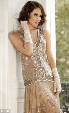 Embellished dress, GBP 325, jigsaw.co.uk   - Lace gloves,  GBP 35, corneliajames.com - @~ Mlle
