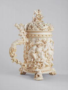 "museum-of-artifacts: "" Matthias Rauchmiller (German) Tankard with silver cup lining, Ivory 1676 "" Plasma Cutter Art, Ancient Artefacts, German Beer Steins, Cameo Pendant, Beer Mugs, Vase, Bone Carving, Sculpture Art, Art Nouveau"