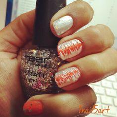 #nailart#orangesivernails#love#zigzagstyle#followmeon#INTAGRAM#1nail5art#cuzilovetodonailart
