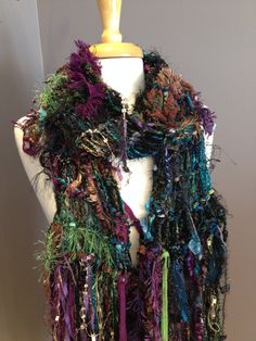 Fringed Knit Scarf - Dumpster Diva 'Orchard' Fringed Hand knit scarf with teal base - boho, tribal, fringe fashion, scarves and wraps, knits by RockPaperScissorsEtc on Etsy