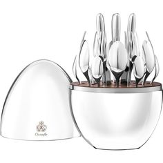 CHRISTOFLE MOOD silver-plated 24 piece cutlery set in decorative egg ($1,345) ❤ liked on Polyvore featuring home, kitchen & dining, flatware, silverplate flatware, silver plated spoons, silverplate silverware, silver plate flatware and christofle silverware