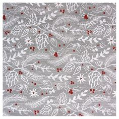 Aspen Botanical on Grey/Red Cardinals on White Wrapping Paper (Assorted Styles) - Wondershop™