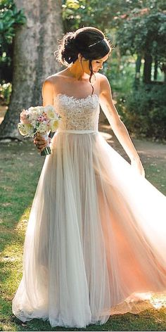 For your destination beach wedding, be mindful of choosing a dress suitable for the beach. Choose from light fabrics, chiffon or silk with decorative trim.