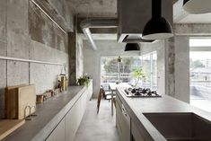 all concrete kitchen @ Concrete Apartment in Nagoya, Japan by Airhouse Design Office Kitchen Interior, Modern Interior, Interior Architecture, Design Kitchen, Futuristic Architecture, Apartment Kitchen, Minimalist Interior, Kitchen Layout, Japanese Kitchen