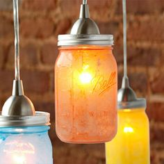 Saw similar lights in Utah.  Great for an outdoor bar/patio area: Glass Jar Pendant Lights