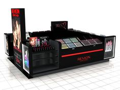 New design of kiosk display from Revlon. Direct to consumer idea within the mall location and not in a specific store. Living Room On A Budget, Living Room Grey, Cubes, Kiosk Store, Cosmetic Display, Kiosk Design, Shop Front Design, Shop Window Displays, Vintage Design