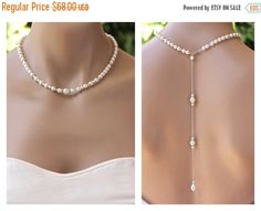 Pearl Back Drop Necklace Bridal Back Pearl | in rose gold