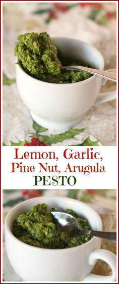"""Dress up your dishes for the holidays and every day. Lemon, Garlic, Pine Nut, Arugula, Pesto. Step away from """"store bought""""."""