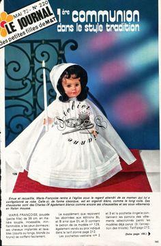 Page Poupée Modes et Travaux , Mai 1972 Marie - Françoise en robe de communion