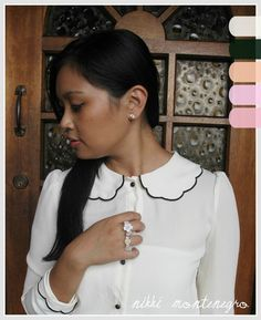 Ivory + Orb on Lookbook.nu   Peter pan scallop collar top and romantic flower rings